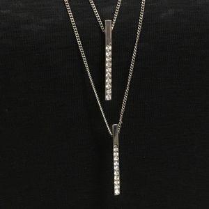 5/$25 Silver Diamond Style Bar Drop Necklace
